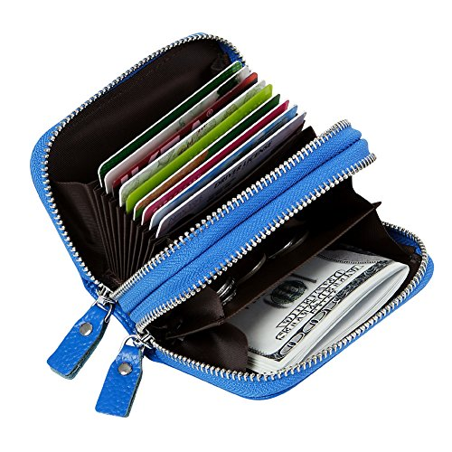 Purse Wallet Accordion (Women's RFID Blocking Credit Card holder Leather Compact Accordion Wallet,Light Blue)