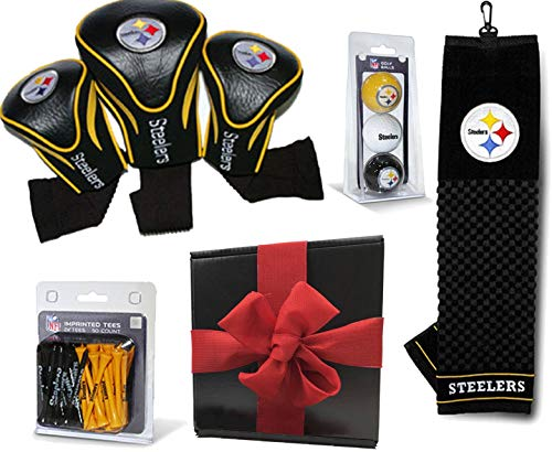 Pittsburgh Steelers Ultimate NFL Golf Gift Box Bundle | includes Headcovers (3-Pack), Team Towel, Team Golf Balls (3-Pack) & Pack of Tees (x50) | PlayBetter Gift Box, Red Bow | Great Football Fan Gift