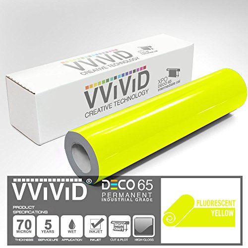 2 x 25ft VViViD DECO65 Neon Fluorescent Blue Permanent Adhesive Craft Vinyl Tape Roll