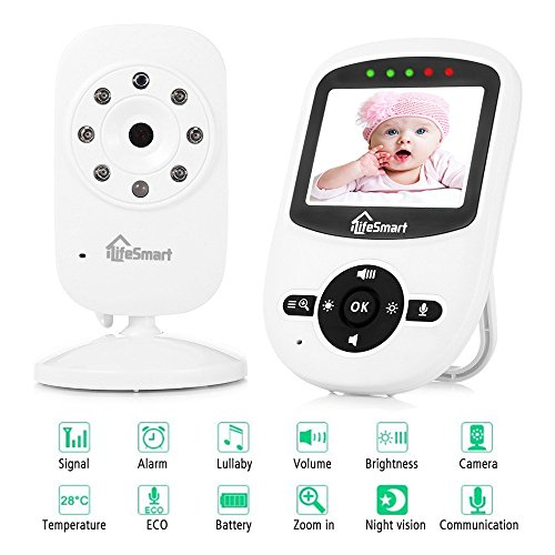 Cheap Video Baby Monitor,iLifeSmart Wireless Baby Monitor Video with Night Vision Two-way Talk 2.4 inch LCD Display Temperature Monitor for Baby,Pet, Old People(White) (SM2.4)
