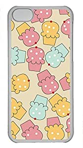 Shell Case for iphone 5C with Cupcakes DIY Fashion PC Transparent Hard Skin Case for iphone 5C