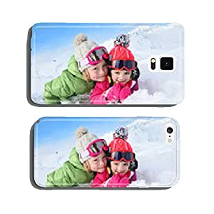 Portrait of kids enjoying winter vacation at ski resort cell phone cover case Samsung S6