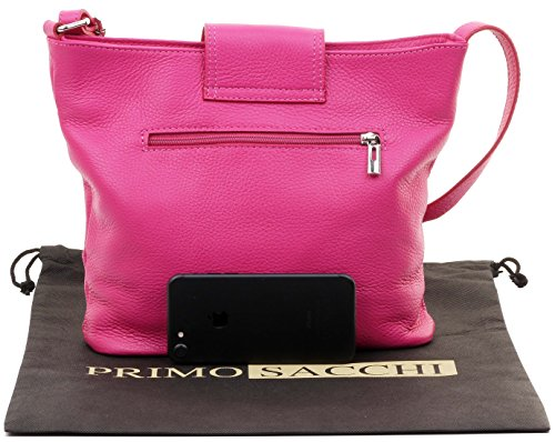 Sacchi Classic Strap Leather Pink Italian Bag Shoulder Primo Adjustable Textured Fully Ladies Crossbody wXP1Xdq