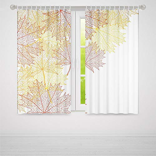 Leaves Decor Collection,Pattern with Maple Tree Fall Leaves Skeleton Dried Golden Forms Halloween Decoration Decorative,for Bedroom Living Dining Room Kids Youth Room, 2 Panel Set,103W X 72L -