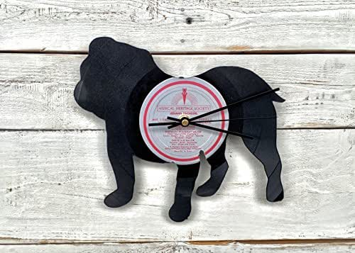 Bulldog Vinyl Record Clock: Upcycled Recycled Repurposed, Dog Breeds Shadow Art, Custom Gift for Her, Retro Vintage Home Decor, Cute Office Accessories