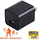 Hidden Camera Charger Adapter,ESROVER 1080P HD Usb Wall AC Plug Charger Wireless Home Security Covert Nanny Spy Camera adapter with 32G Internal Memory