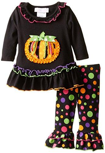 Bonnie Baby Baby-Girls Halloween Appliqued Legging Set, Pumkin, 3-6 Months ()