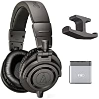 Audio-Technica ATH-M50x Professional Monitor Headphones -INCLUDES- Fiio A1 Headphone Amplifier and Blucoil Headphone Hook