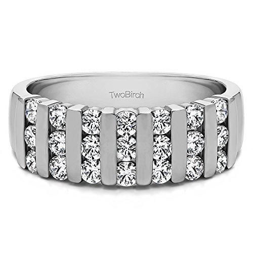 0.26 Moissanite Three Row Bar Set Wedding Ring in Yellow Plated Silver (size 10) ()