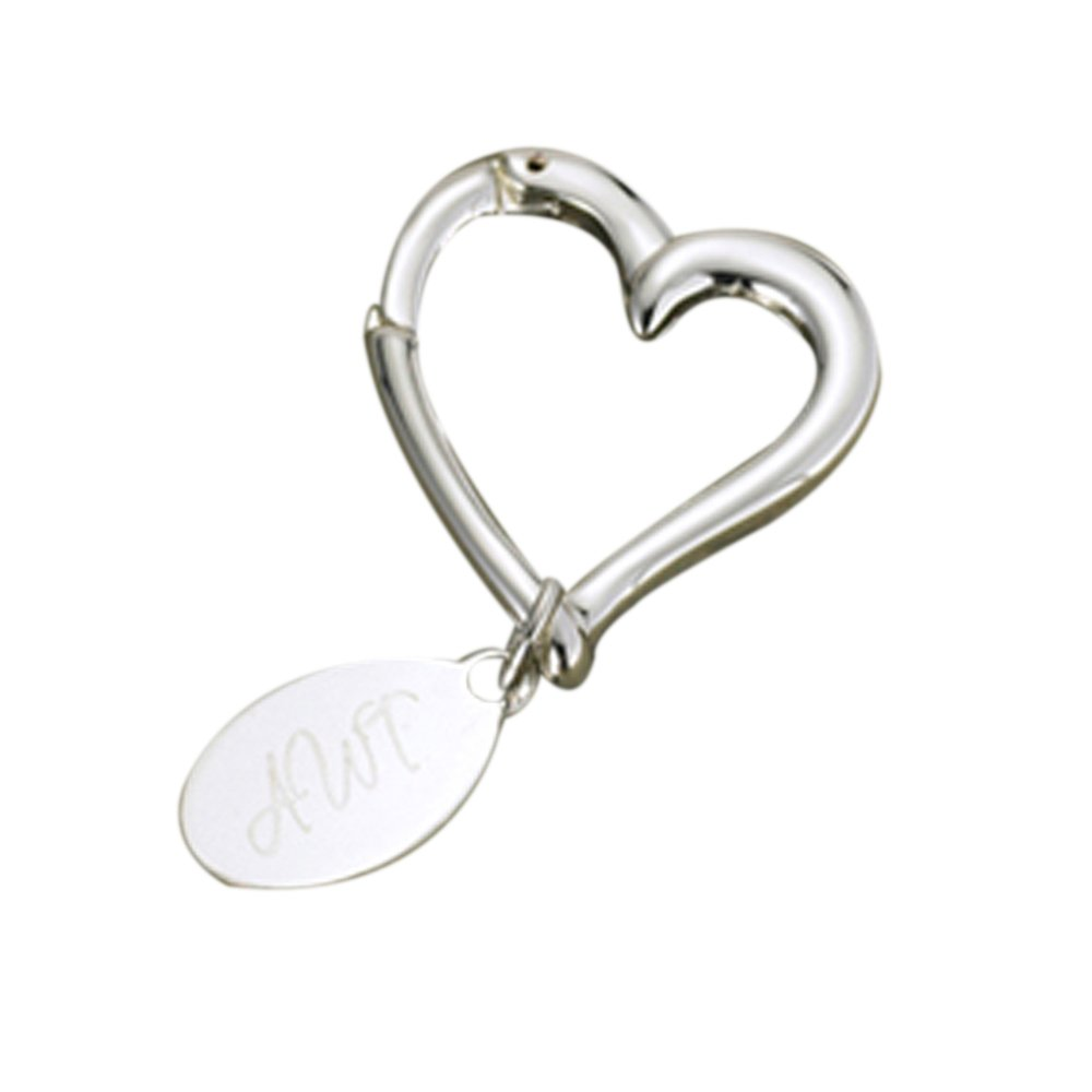 Personalized JDS Gifts Heart Shape Key chain with Oval Tag