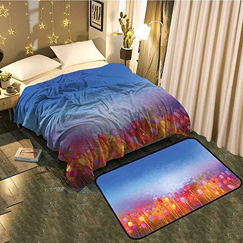 Blanket mat Set Combination Tulip Garden Under Blue Sky in Medieval Ottoman Culture Symbols Good for All Seasons Blanket 50