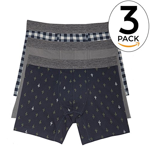 Basic Outfitters 3-Pack Cactus Boxer Briefs For Men In Stretch Jersey (Jersey Stretch Briefs)