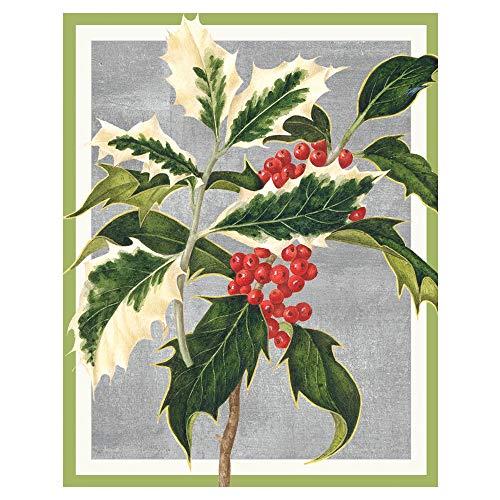 Caspari Holly Mini Boxed Christmas Cards - 32 Cards & Envelopes