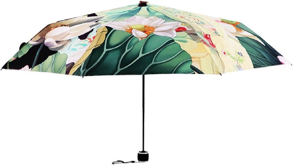 Cat Art Sun Umbrella 3-Folding Rain Umbrella Cute Animal Compact Umbrella with 8 Ribs Fast Drying Walking Umbrella Anti-UV Sun Umbrella Reinforced Waterproof Travel Umbrella for Women Girl