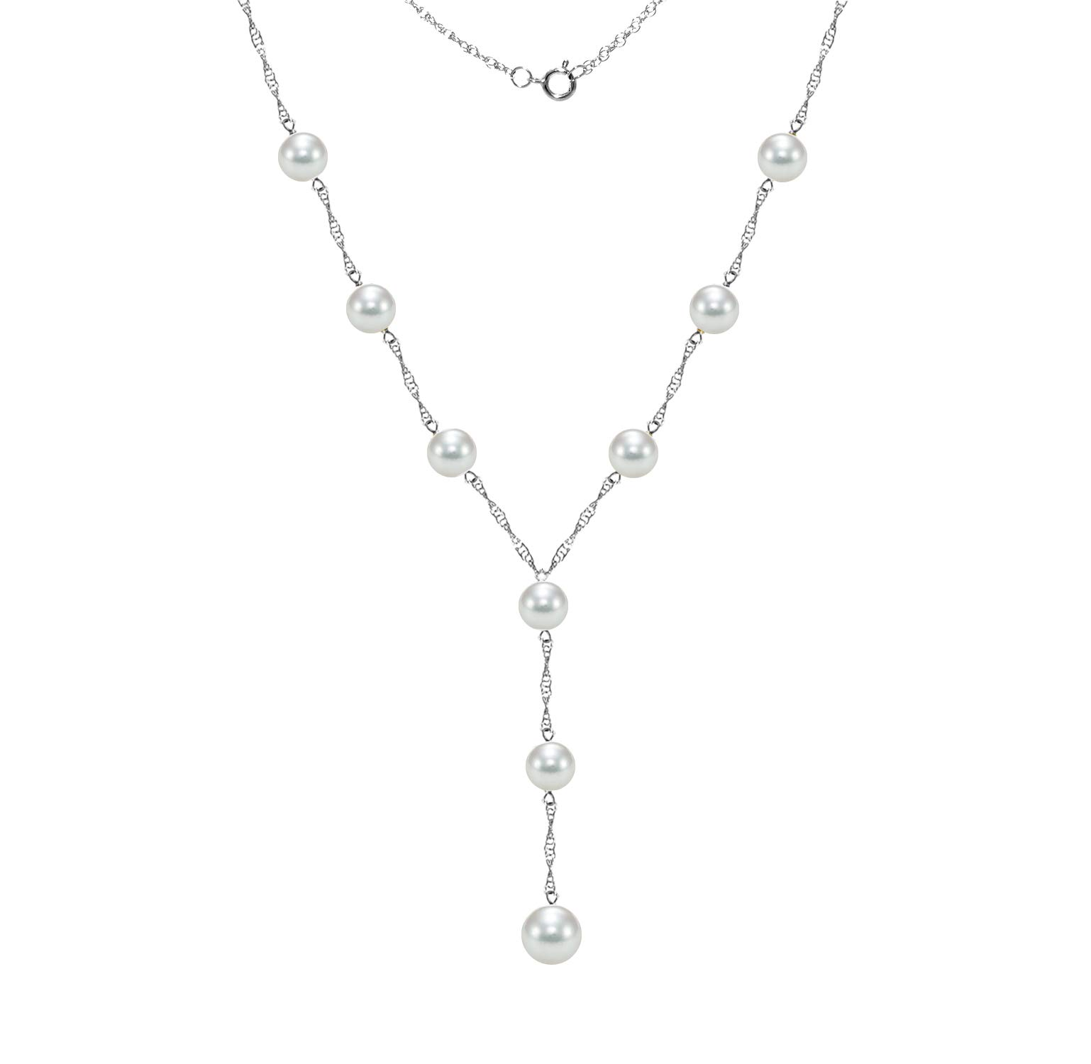 14k White Gold Lariat Tin Cup Station Necklace Saltwater White Akoya Cultured Pearl 6.5-7mm and 8-8.5mm, 18'' + 2'' Drop