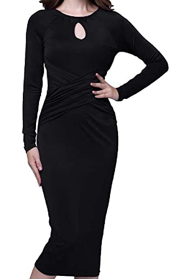 6b6daec4a3f Comfy Womens Cross Mid-Long Solid Cut Out Package Hip Evening Dress at  Amazon Women's Clothing store: