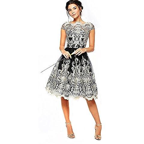 Vintage Floral Lace Dress Embroidery Short Sleeve Formal Dress Cocktail Evening Mini Dresses (L, - Cocktail Dress Jacket
