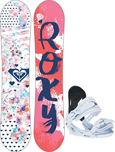 Girls Snowboard Binding - Roxy - Girls Poppy Snowboard Package 2018, 110