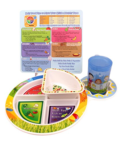 Fresh Baby 4-Piece Set of Plate, Bowl, Training Cup and Tip Card ()