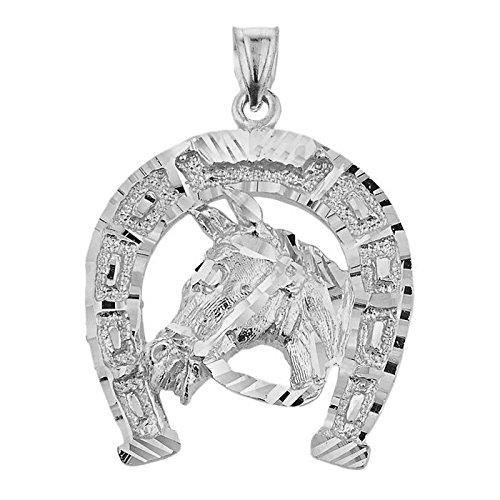 925 Argent Fin Tete de Cheval Avec De fer a Cheval-Pendentif Collier (Livre Avec un 45 cm Chaine)