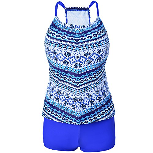 Eleoption Two Piece Swimsuit Set with Boyleg Swim Short Cover Ups Bathing Suit Bikini Swimsuit Sport Suit for Lady Teens Girls (M, Blue)