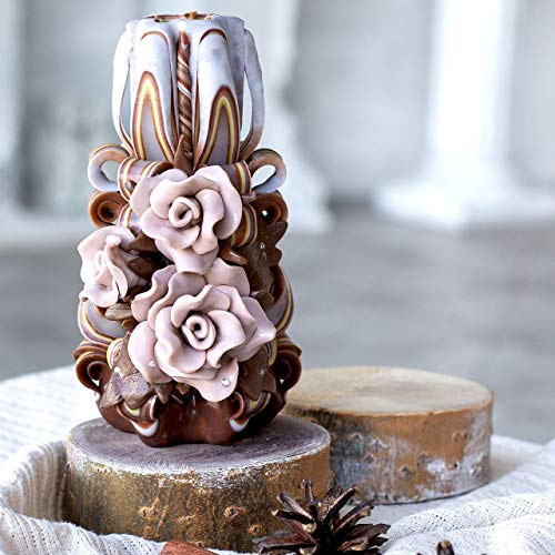 Handmade brown beige carved candle - roses flowers - Christmas gift -