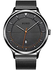 BUREI Mens Minimalist Quartz Watch Simple Analogue Dial with Date Calendar and Milanese Mesh Band