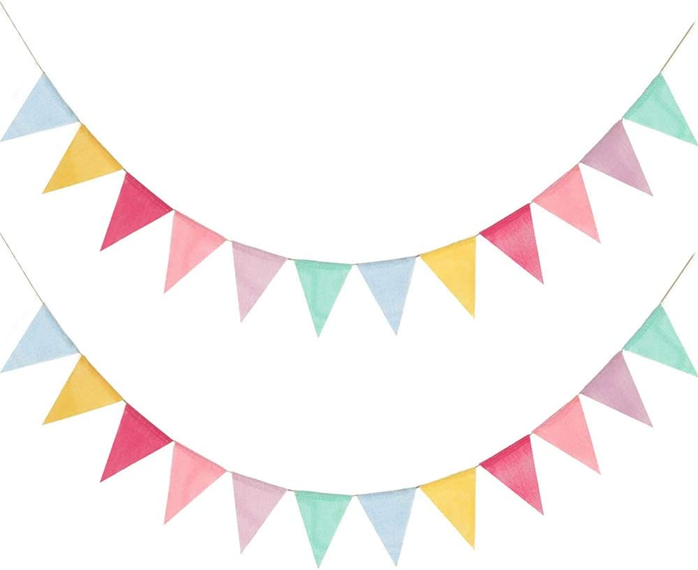 Juland 24 Flags Multicolor Pennant Banner Triangle Flag Bunting for Party Hanging Festivals Decoration Imitated Burlap Pennant Triangle Flags Banner