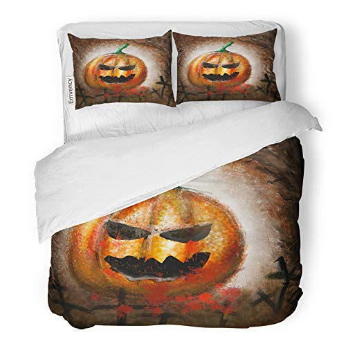 Emvency 3 Piece Duvet Cover Set Brushed Microfiber Fabric Breathable Colorful Autumn Drawings of Pumpkin Demon on Halloween Day Yellow Black Bedding Set with 2 Pillow Covers Full/Queen Size