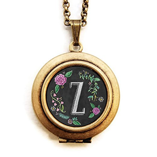 Personalized Initial Locket - Dearest Mine Women's Brass Plated Chalkboard Initial Petite Art Locket Necklace Letter Z 18 Inches