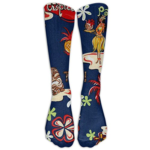 Luau Hulafun Colors Compression Knee Socks Stretch Softball For Men & Women Cartoon Casual Long Tube Crew Socks