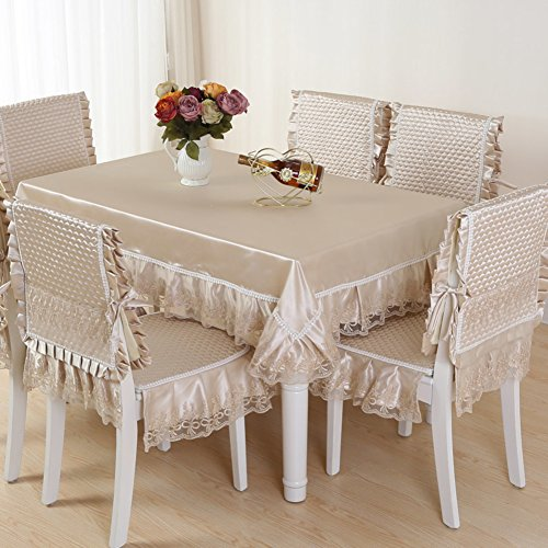 (Table Cloth Chair Cover Cushion Set Dining lace Tablecloth Coffee European Style Creative Classical Personality Minimalist-B 130x180cm(51x71inch))