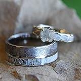 Rough Diamond, Gibeon Meteorite 10k White Gold Ring