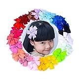 20PCS Boutique Hair Bows Girls Kids Children Alligator Clip Grosgrain Ribbon Headbands 20 Color