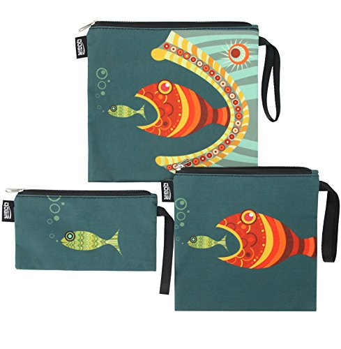 QOGiR Reusable Snack Bags and Sandwich Bags with Handle (Set of 3): Lead-Free,BPA-Free,PVC-Free (Fish)