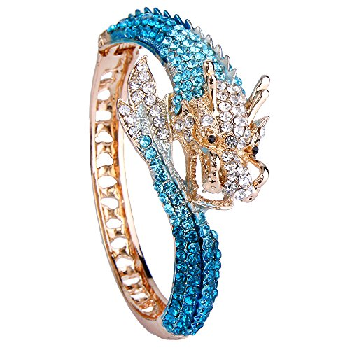 - EVER FAITH Women's Austrian Crystal Cool Animal Fly Dragon Bangle Bracelet Blue Gold-Tone
