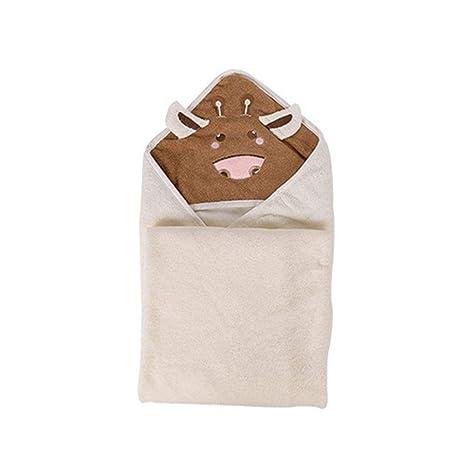 Toalla con capucha para bebé, cara de vaca, algodón orgánico superabsorbente e hipoalergénico,