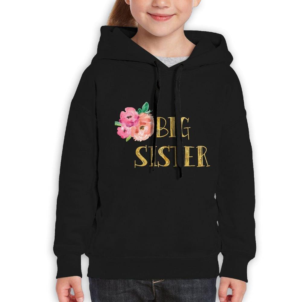 Vintopia Youth Floral Big Sister Gold Foil Fashion Climbing Black Hoody L