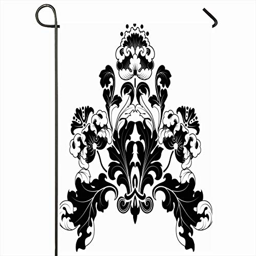 "Ahawoso Outdoor Garden Flags 12""x18"" Inch Flourishes Baroque Floral Designs Antique Black White Pattern Damask Nature Victorian Scroll Flower Vertical Double Sided Home Decorative House Yard Sign"