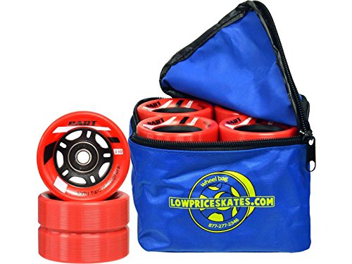 Riedell Red Dart Quad Indoor Speed Skate Wheels - 8 Pack + Wheel Bag! (Red)