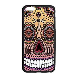 """Art Designed Multicolor Skull of Day of the Dead Picture for iPhone 6 Plus (5.5"""") Hard Case Cover Shell Plastic and TPU Laser Technology"""