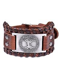 VASSAGO Vintage Amulet Norse Viking Tree Life Yggdrasil Celtic Knot Metal Brown Leather Bracelet