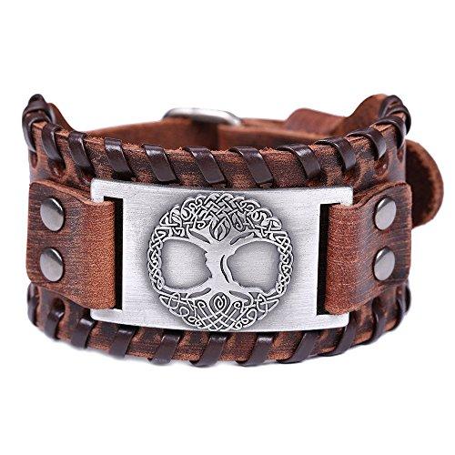 VASSAGO Vintage Amulet Nordic Viking Myth Tree of Life Yggdrasil Celtic Knot Metal Connector Brown Leather Bracelet (Brown Leather, Antique -