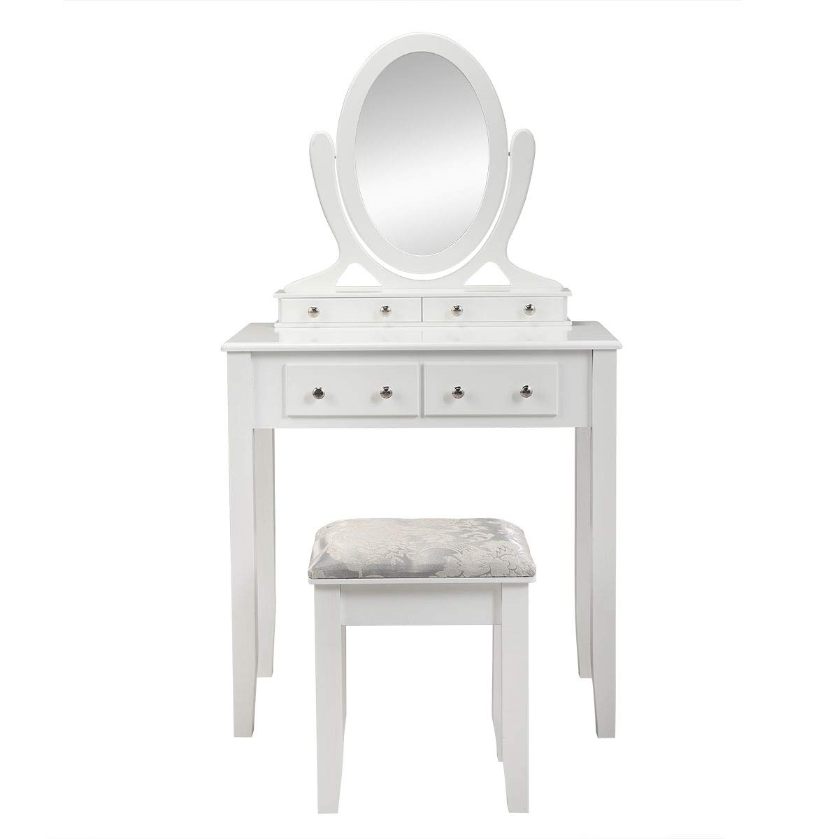 BWM.Co Vanity Table Set with Oval Mirror 4 Drawers Wood Makeup Dressing Bedroom Table Set Cushioned Stool for Girls Whit