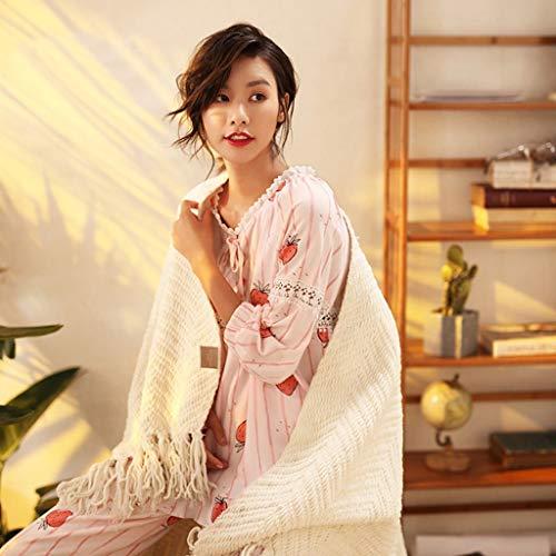 Dos Pink Mujer El Suelto Hogar Estampado Fresa Para Pieza Manga Una Pijamas Ropa Piezas Larga Algodón Conjunto Encantador Y De Dulce Moda Camisones Casual gAS6xnqwx