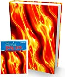 Book Sox Stretchable Book Cover: Jumbo Fireball Print. Fits Most Hardcover Textbooks up to 9 x 11. Adhesive-Free, Nylon Fabric School Book Protector. Easy to Put On. Washable & Reusable Jacket.
