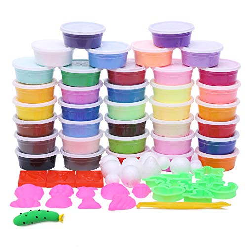 Linker Wish Clay Mold Tools Set Kit 36colors/Box Slime Toys Fimo Polymer Clay Hand-Made Colored Clay Intelligent Plasticine with Molds Set Playdough Kids Gifts
