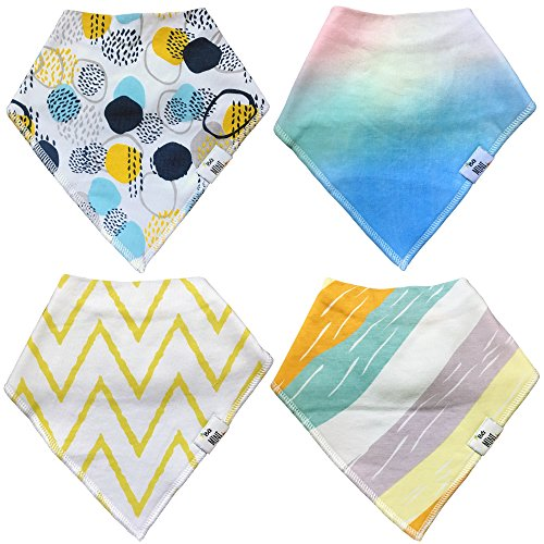 Essentielle Gift Set - Baby Bandana Drool Bibs for Drooling - Teething by BG Mini 4 Pack Absorbent Organic Cotton Gift Set for Girls