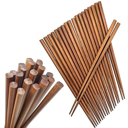 Happy Sales HSC-BC10P, Brown Bamboo Chopsticks, Lightweight Chopstick Set -10 Pairs Gift Sets