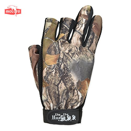 Review Molure 3 Cut Finger Fishing Hunting Gloves Anti-slip Breathable Camo